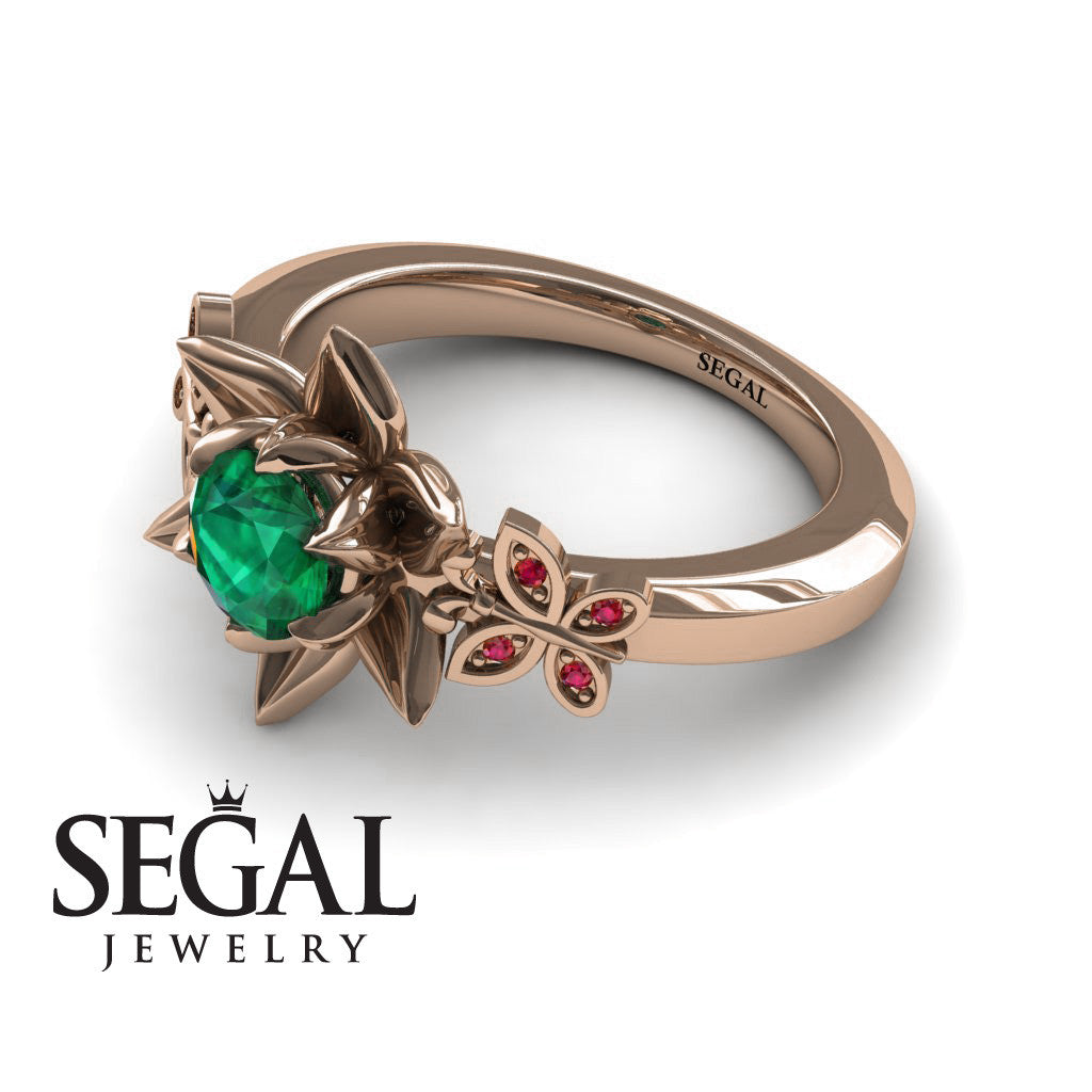 The Lotus Cocktail ring Green Emerald Ring- Kaitlyn no. 8