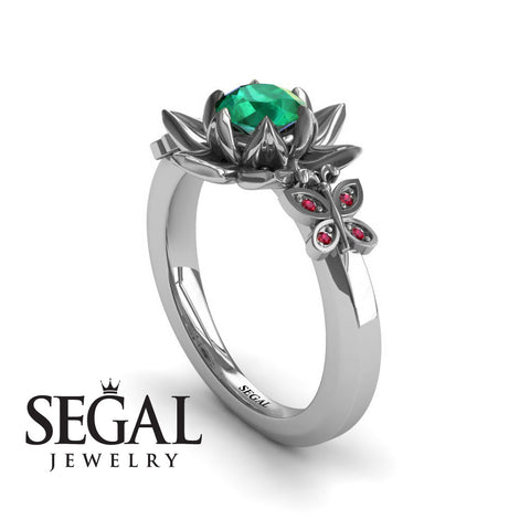 The Lotus Cocktail ring Green Emerald Ring- Kaitlyn no. 9