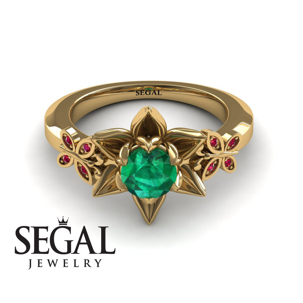 The Lotus Cocktail ring Green Emerald Ring- Kaitlyn no. 7