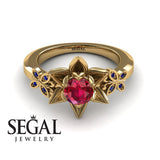 The Lotus Cocktail ring Ruby Ring- Kaitlyn no. 4