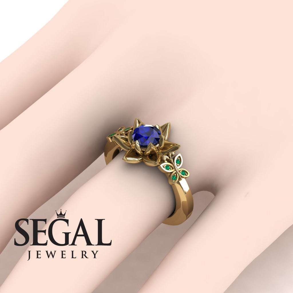 The Lotus Cocktail ring Blue Sapphire ring- Kaitlyn no. 10