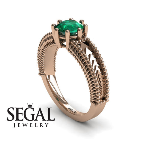 The Mounted Fir Green Emerald Ring- Harper no. 11