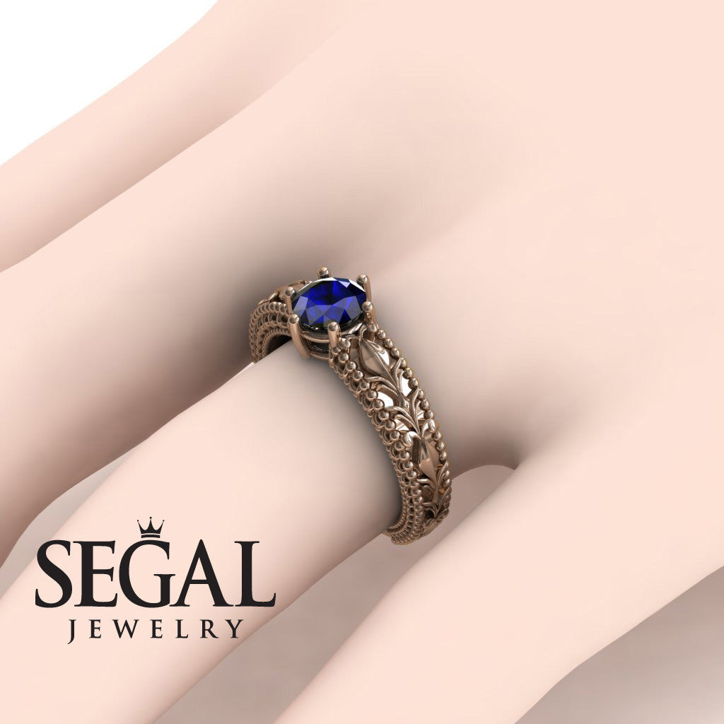 The Victorian Leafs Engagement ring Blue Sapphire Ring- Kylie no. 11