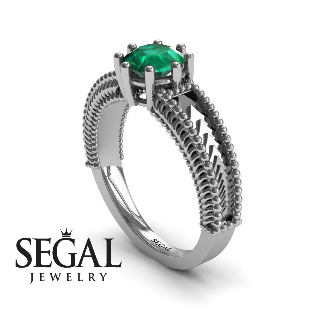The Mounted Fir Green Emerald Ring 14K White Gold - Harper no. 12