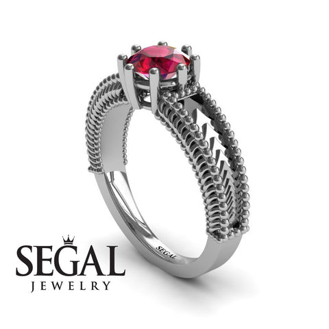 The Mounted Fir Ruby Ring- Harper no. 6