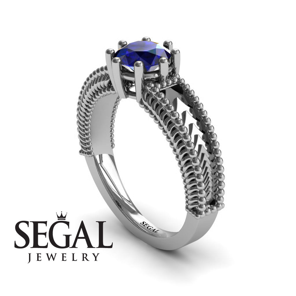 The Mounted Fir Blue Sapphire Ring- Harper no. 9