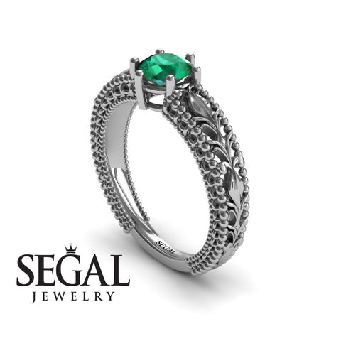 The Victorian Leafs Engagement ring Green Emerald Ring- Kylie no. 9