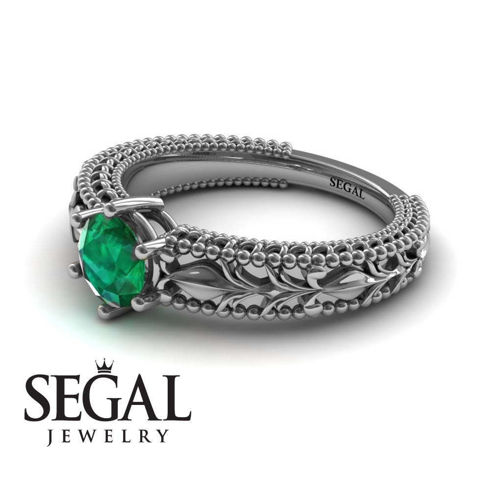 The Victorian Leafs Unique Engagement ring Green Emerald Ring- Kylie no. 9