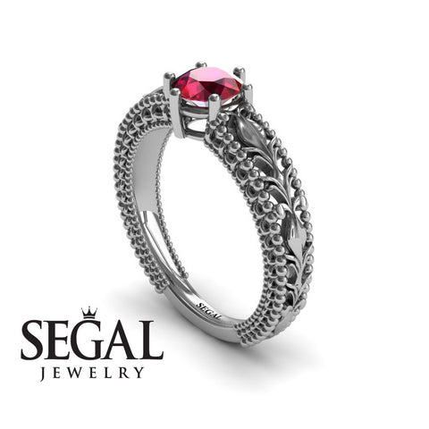 The Victorian Leafs Engagement ring Ruby Ring- Kylie no. 6
