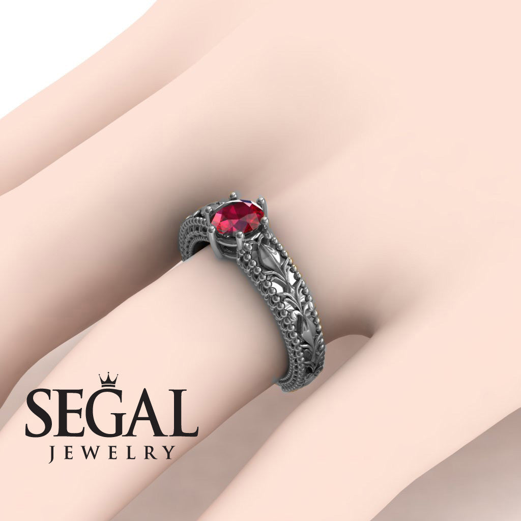 The Unique Victorian Leafs Engagement Ring Natural Ruby Ring- Kylie no. 6