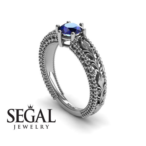 The Victorian Leafs Engagement ring Blue Sapphire Ring- Kylie noº 12