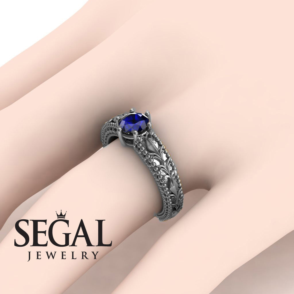 The Victorian Leafs Engagement ring Blue Sapphire Ring- Kylie no. 12