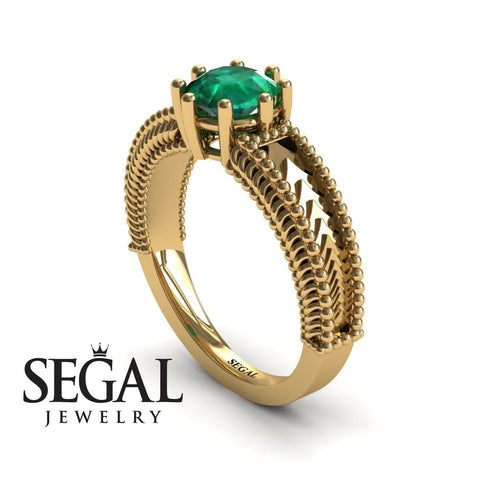 The Mounted Fir Green Emerald Ring- Harper no. 10