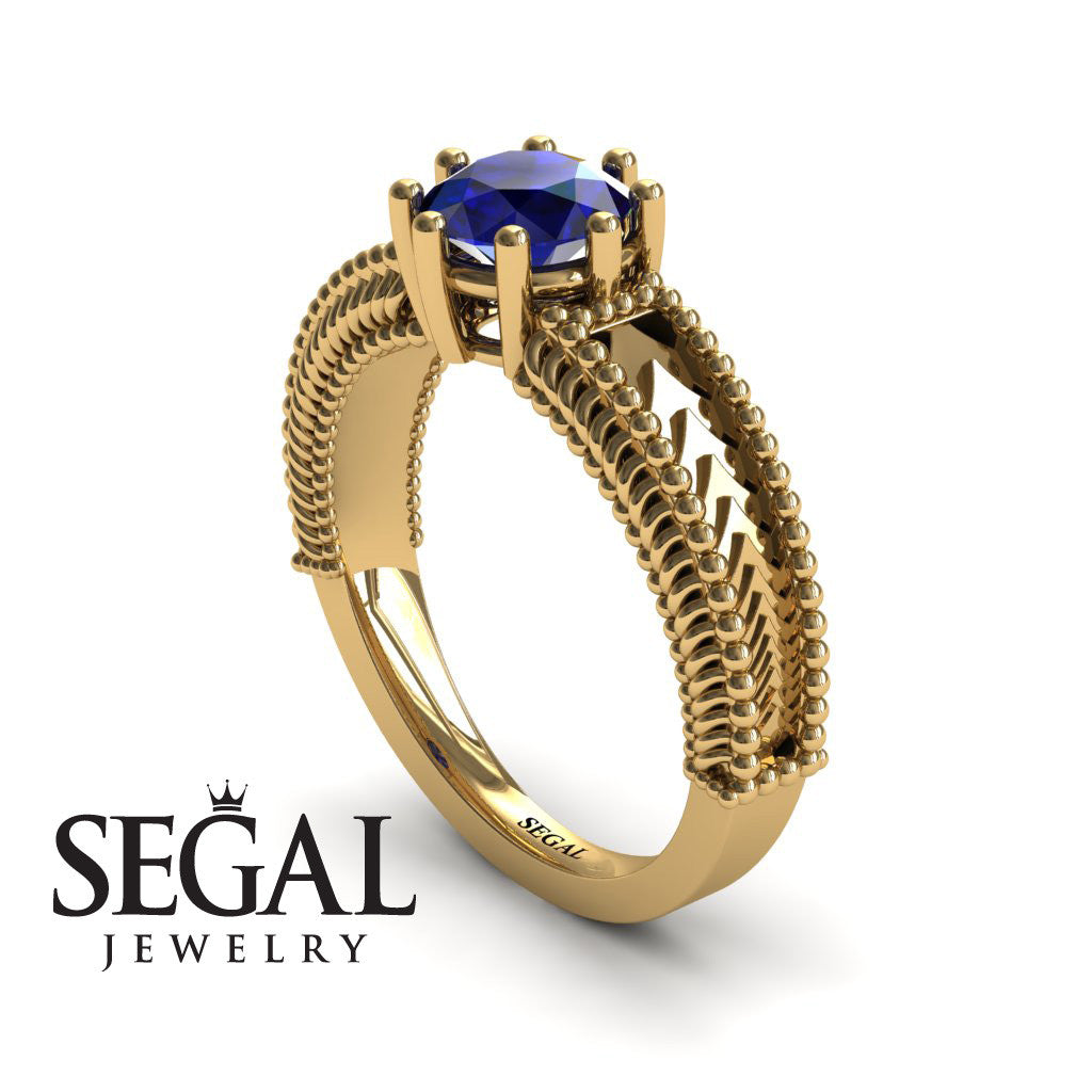 The Mounted Fir Blue Sapphire Ring- Harper no. 7