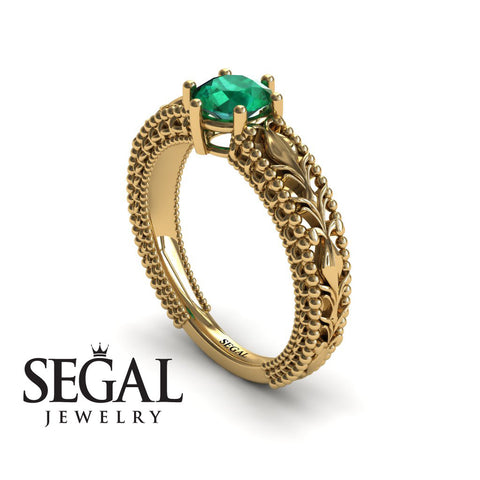 The Victorian Leafs Engagement ring Green Emerald Ring- Kylie no. 7