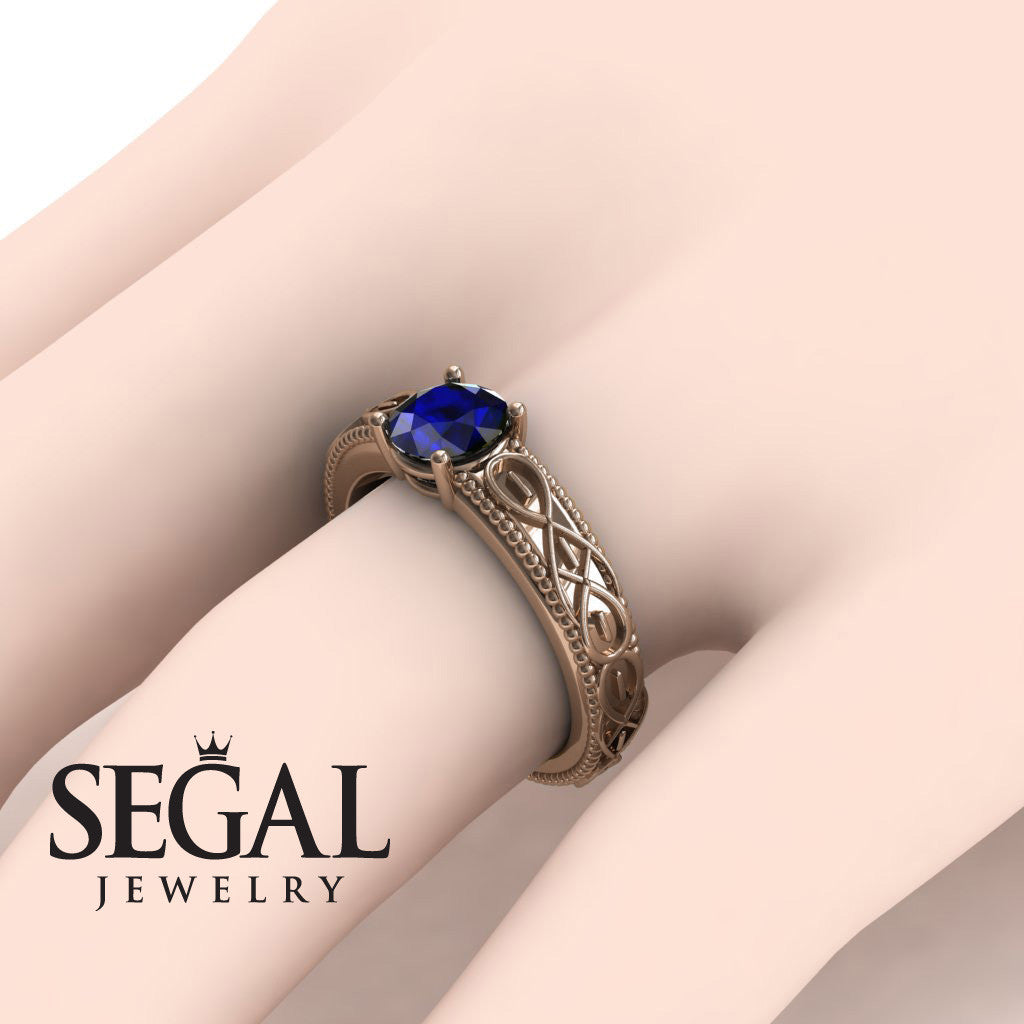The Waves Of Nature Blue Sapphire Ring- Liliana no. 8