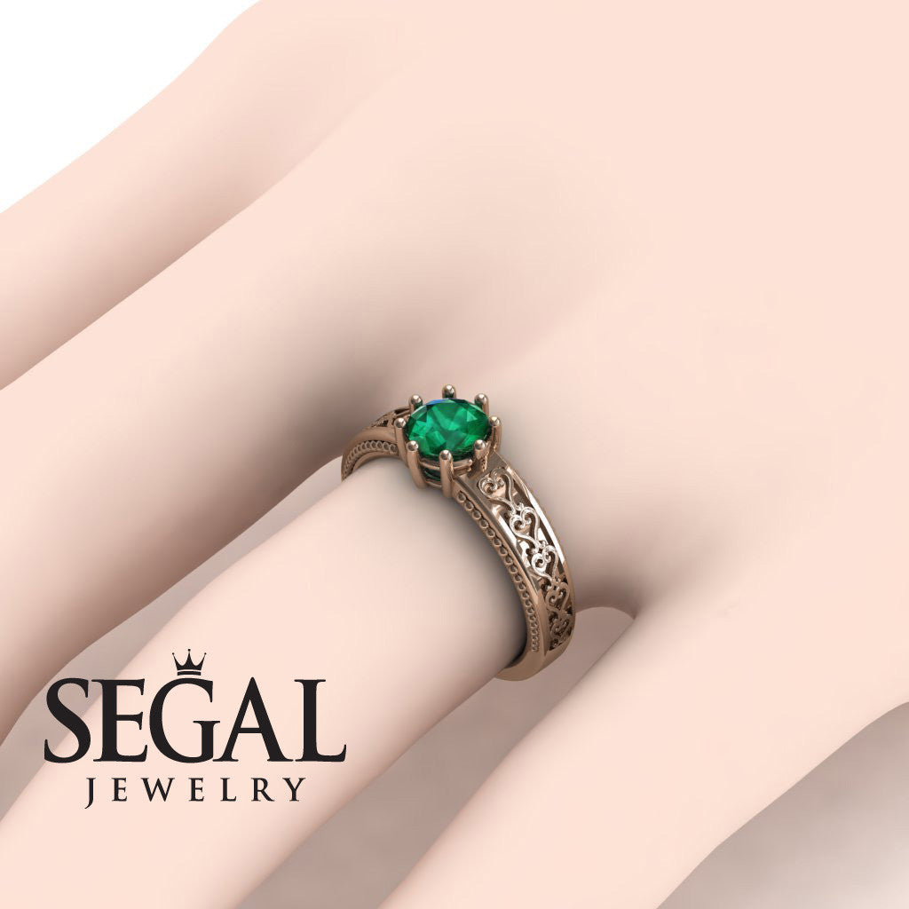 The Victorian Hearts Green Emerald Ring- Evelyn no. 11