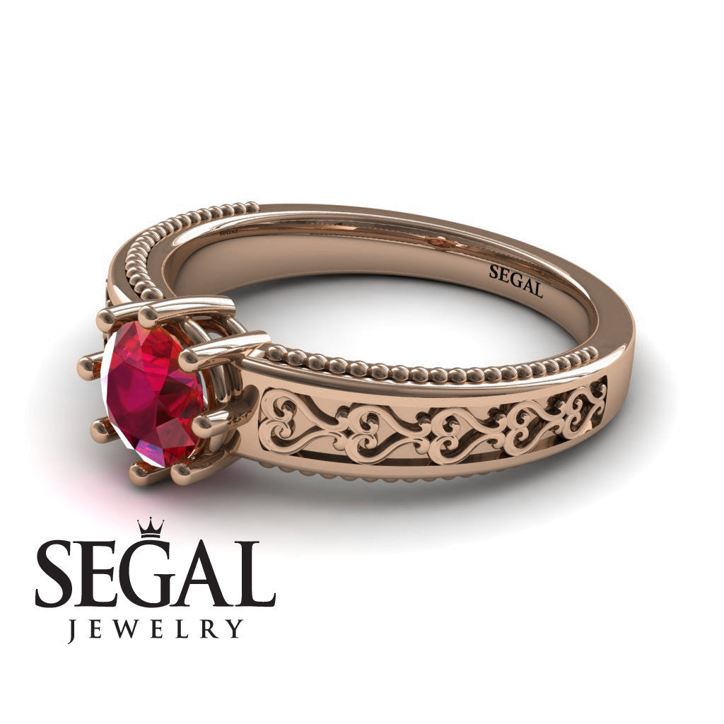 The Victorian Hearts Ruby Ring- Evelyn no. 5