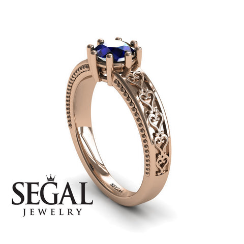 The Victorian Hearts Blue Sapphire Ring- Evelyn noº 8
