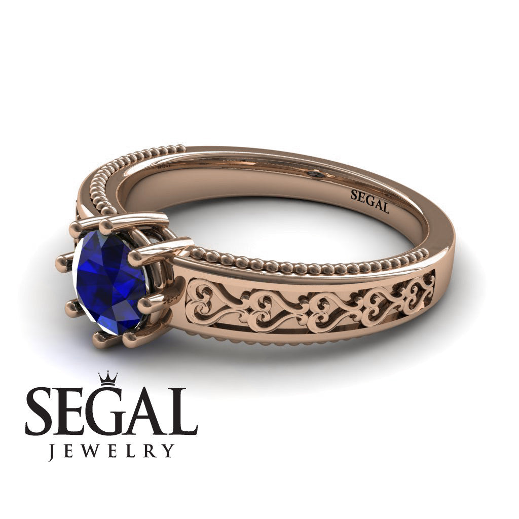 The Victorian Hearts Blue Sapphire Ring- Evelyn no. 8