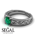 The Waves Of Nature Green Emerald Ring- Liliana no. 12