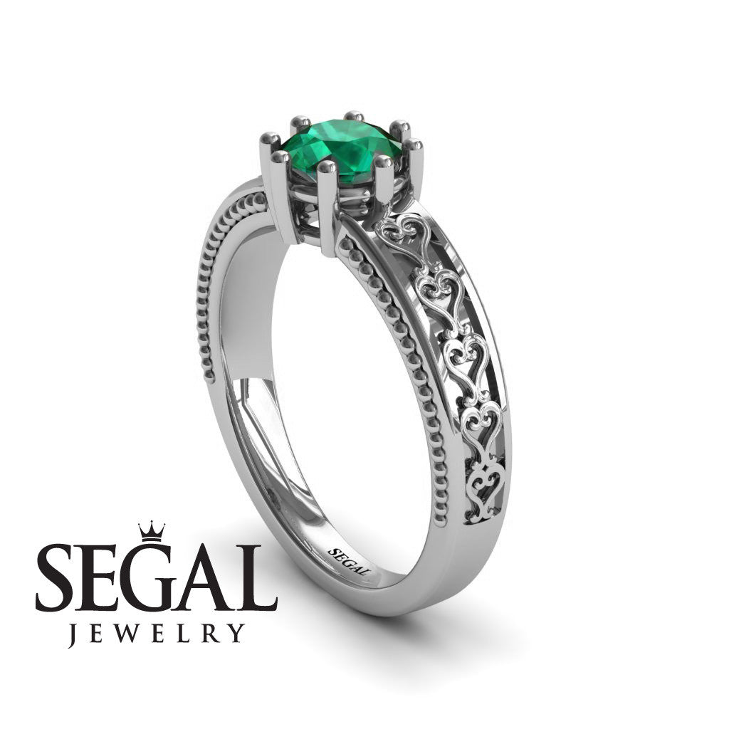 The Victorian Hearts Green Emerald Ring- Evelyn no. 12