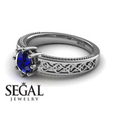The Victorian Hearts Blue Sapphire Ring- Evelyn no. 9
