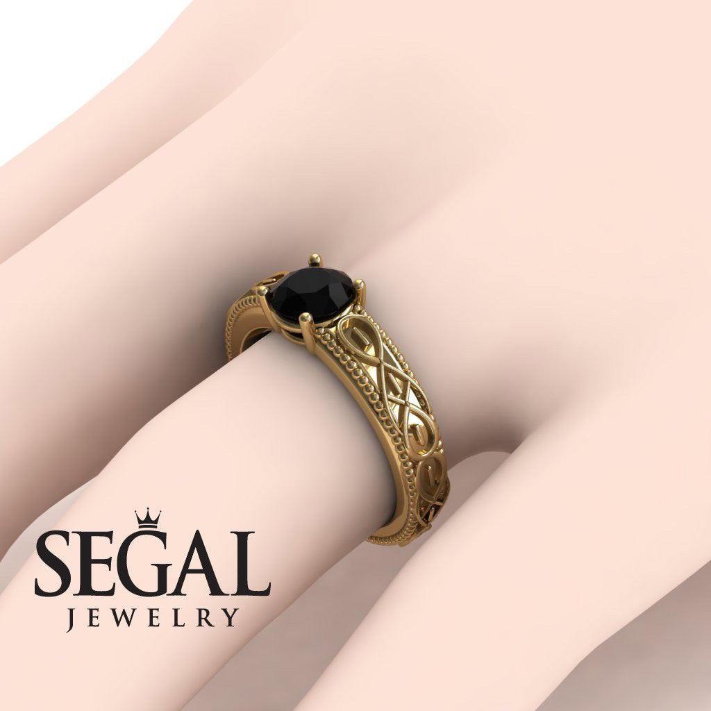 The Waves Of Nature Black Diamond Ring- Liliana no. 13