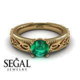 The Waves Of Nature Green Emerald Ring- Liliana no. 10