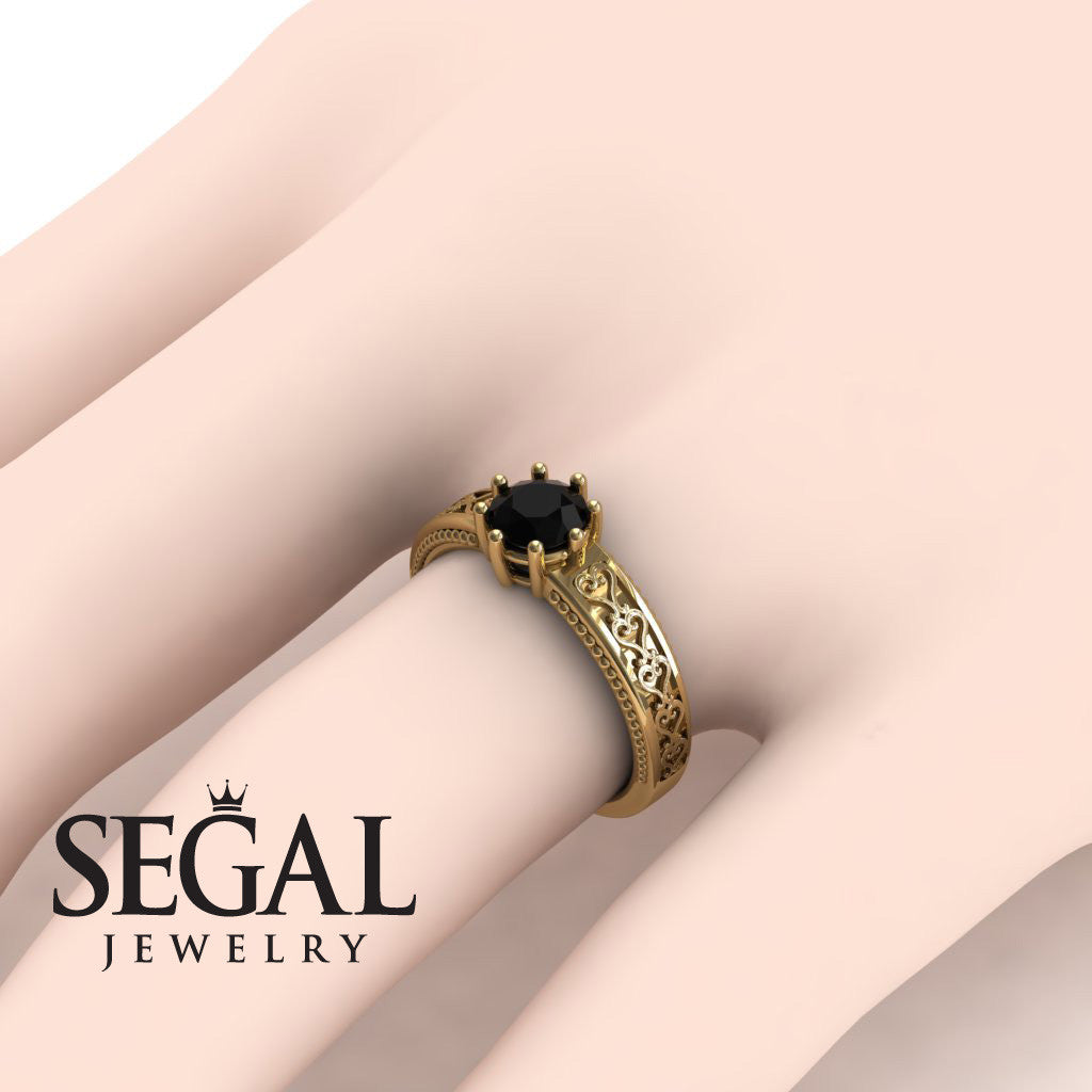 The Victorian Hearts Black Diamond Ring- Evelyn no. 13