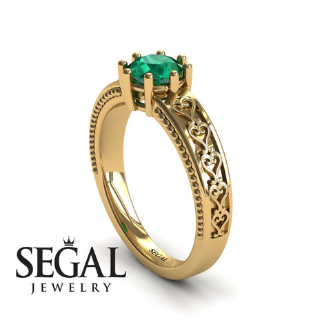 The Victorian Hearts Green Emerald Ring- Evelyn no. 10