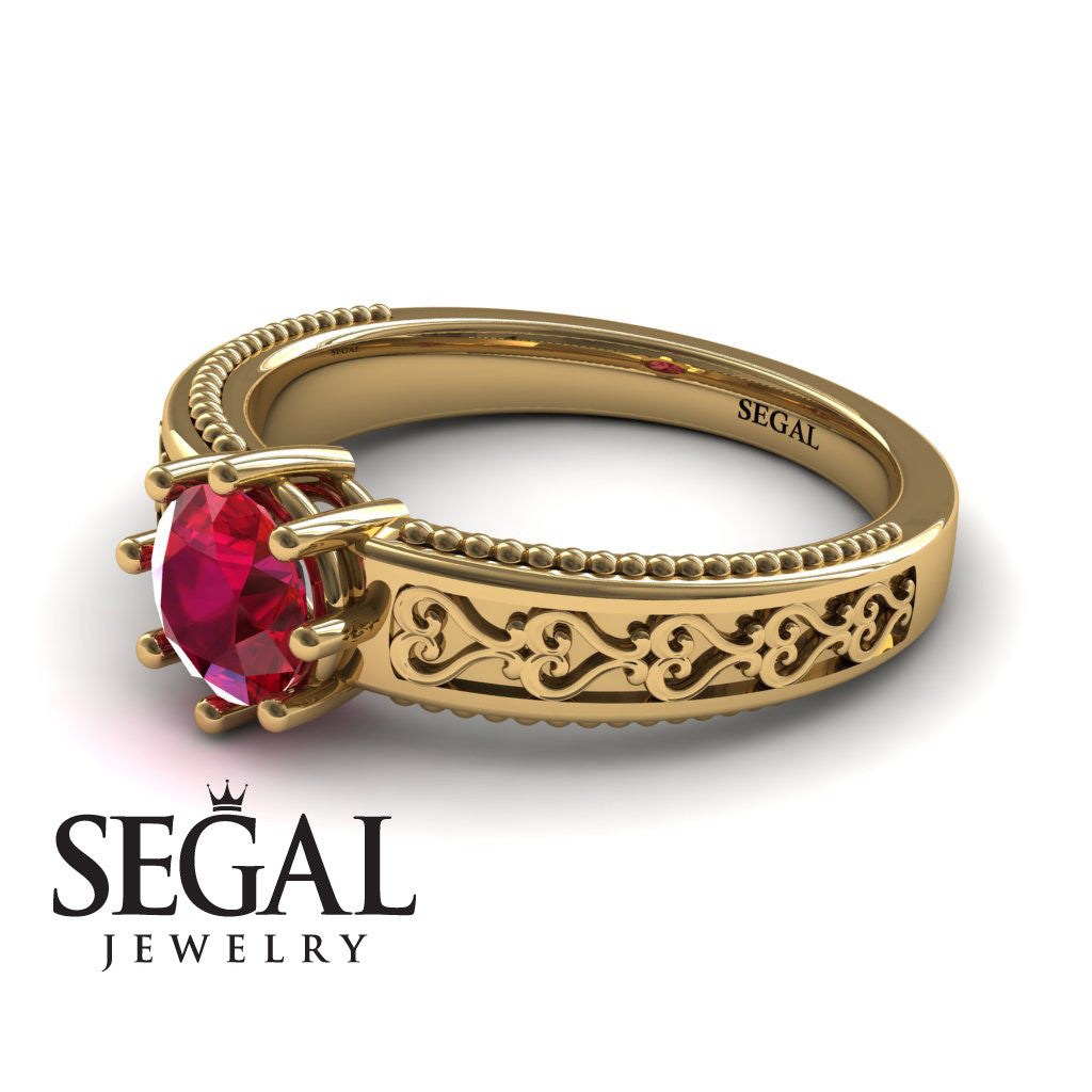 The Victorian Hearts Ruby Ring- Evelyn no. 4