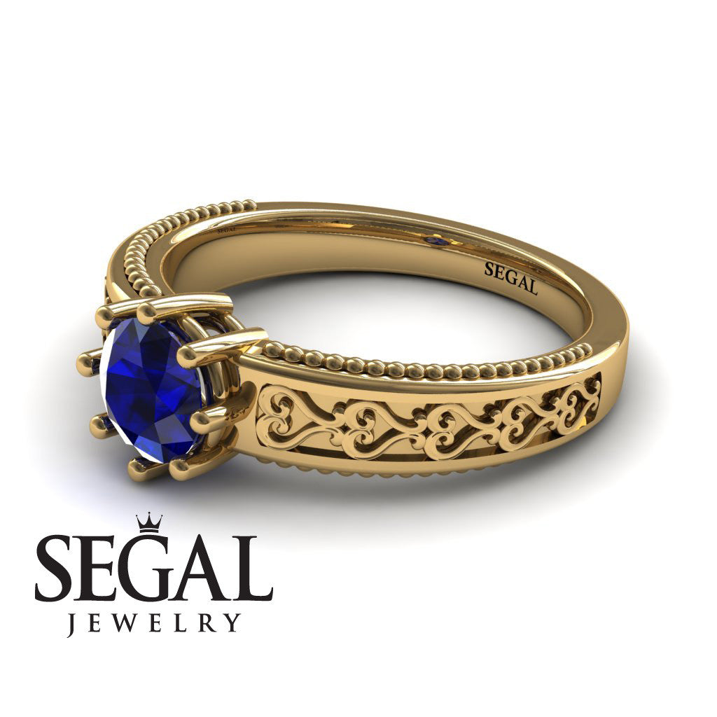 The Victorian Hearts Blue Sapphire Ring- Evelyn no. 7