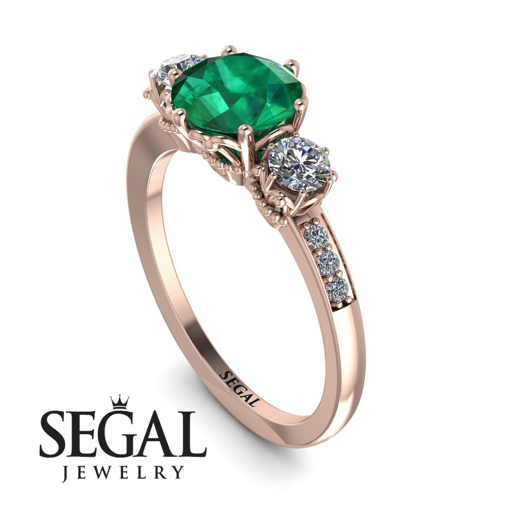 Vintage 3 Stones Emerald Ring With Micro Pave - Luna No. 5