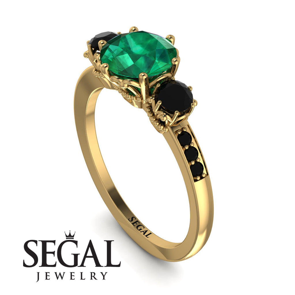 Vintage 3 Stones Emerald Ring With Micro Pave - Luna No. 34
