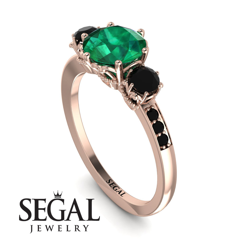 Vintage 3 Stones Emerald Ring With Micro Pave - Luna No. 35
