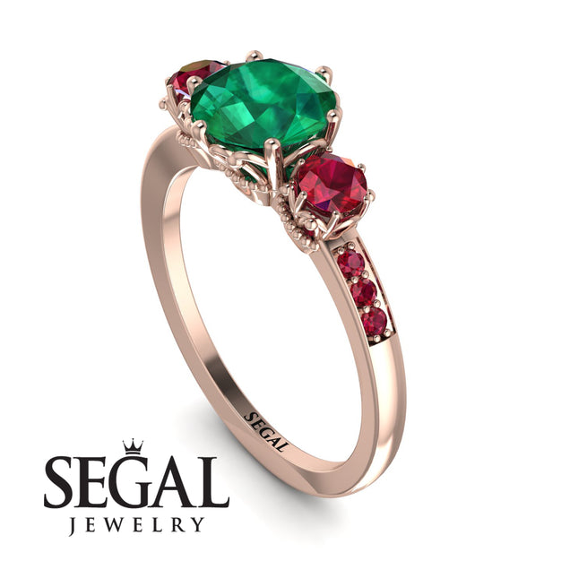 Double Halo Emerald Ring - Zoey No. 9