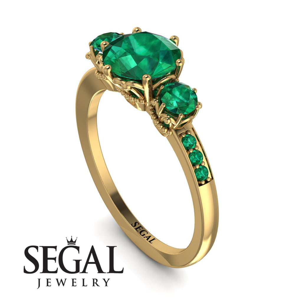 Vintage 3 Stones Emerald Ring With Micro Pave - Luna No. 19