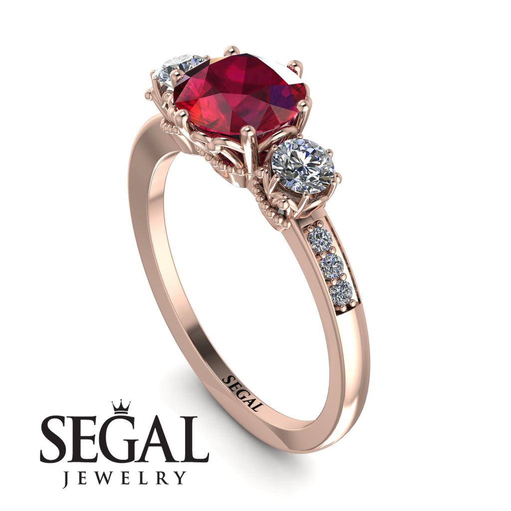 Vintage 3 Stones Ruby Ring With Micro Pave - Luna No. 11
