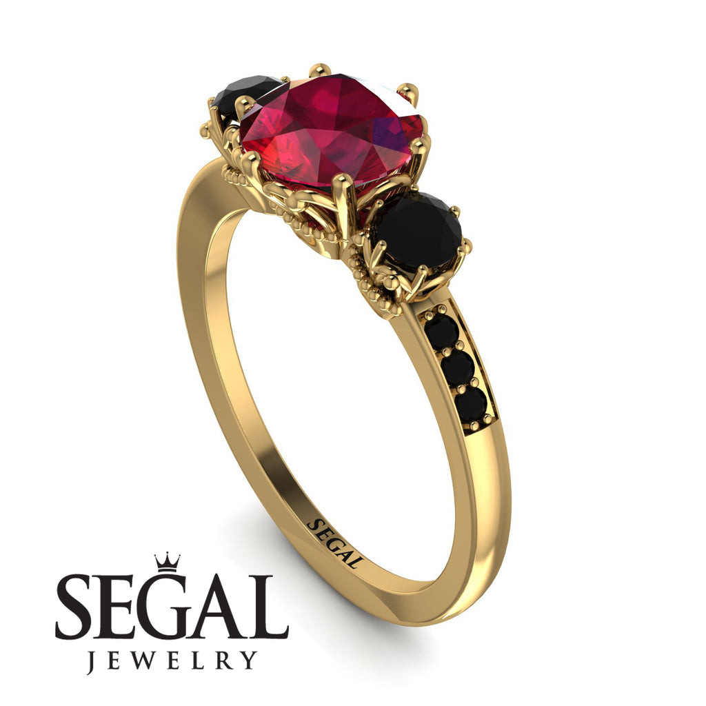 Vintage 3 Stones Ruby Ring With Micro Pave - Luna No. 40