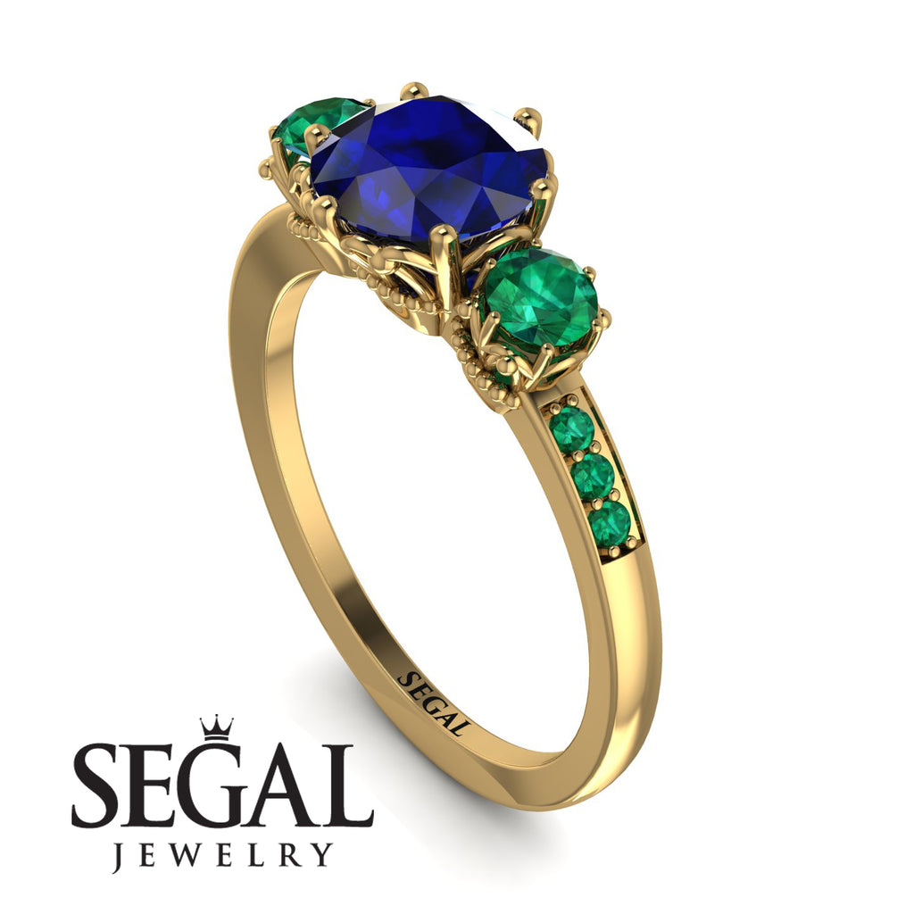 Vintage 3 Stones Sapphire Ring With Micro Pave - Luna No. 28