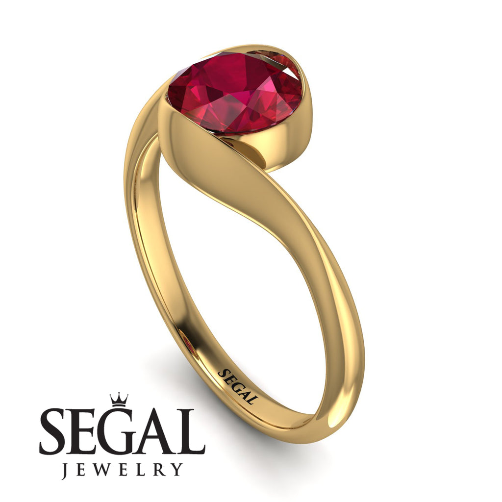 Vintage Bezel Twist Ruby Ring - Everly No. 10