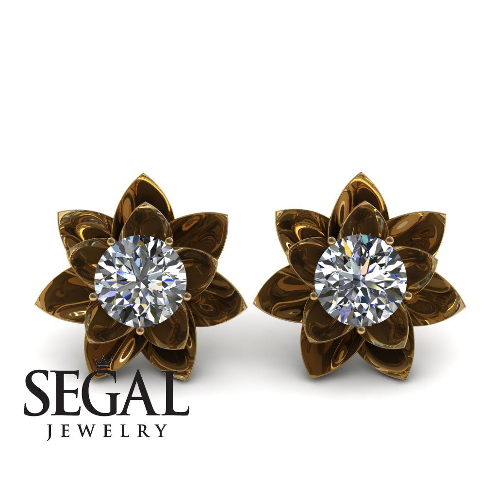 Lotus Flower Diamond Earrings - Lotus no. 1