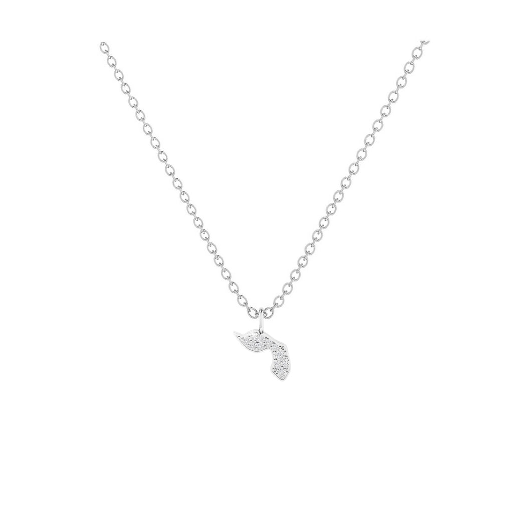 Yod - Hebrew Alef-Bet letter diamond Necklace - Yod letter