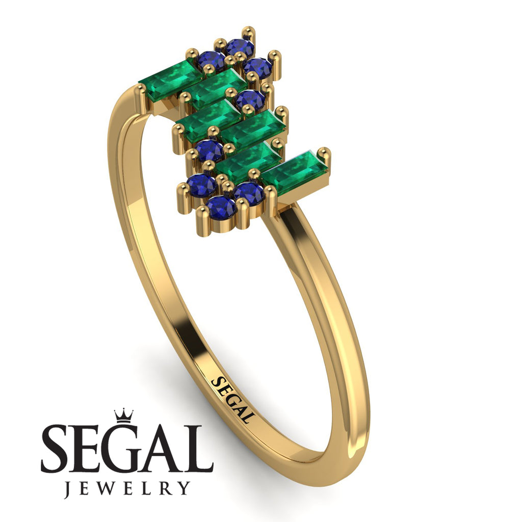Baguette And Round Emerald Band - Daniela No. 64