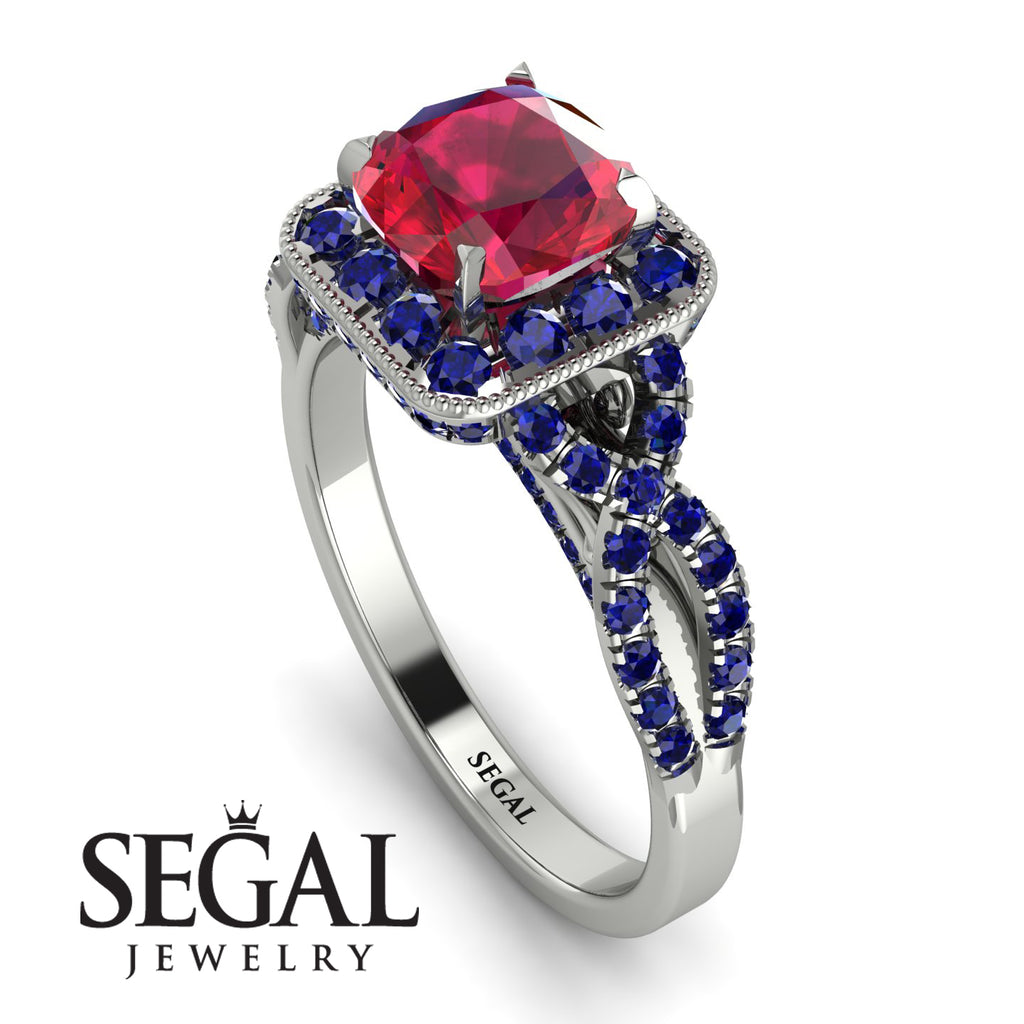 Cushion Cut Ruby Milgrain Engagement Ring - Adelyn No. 72