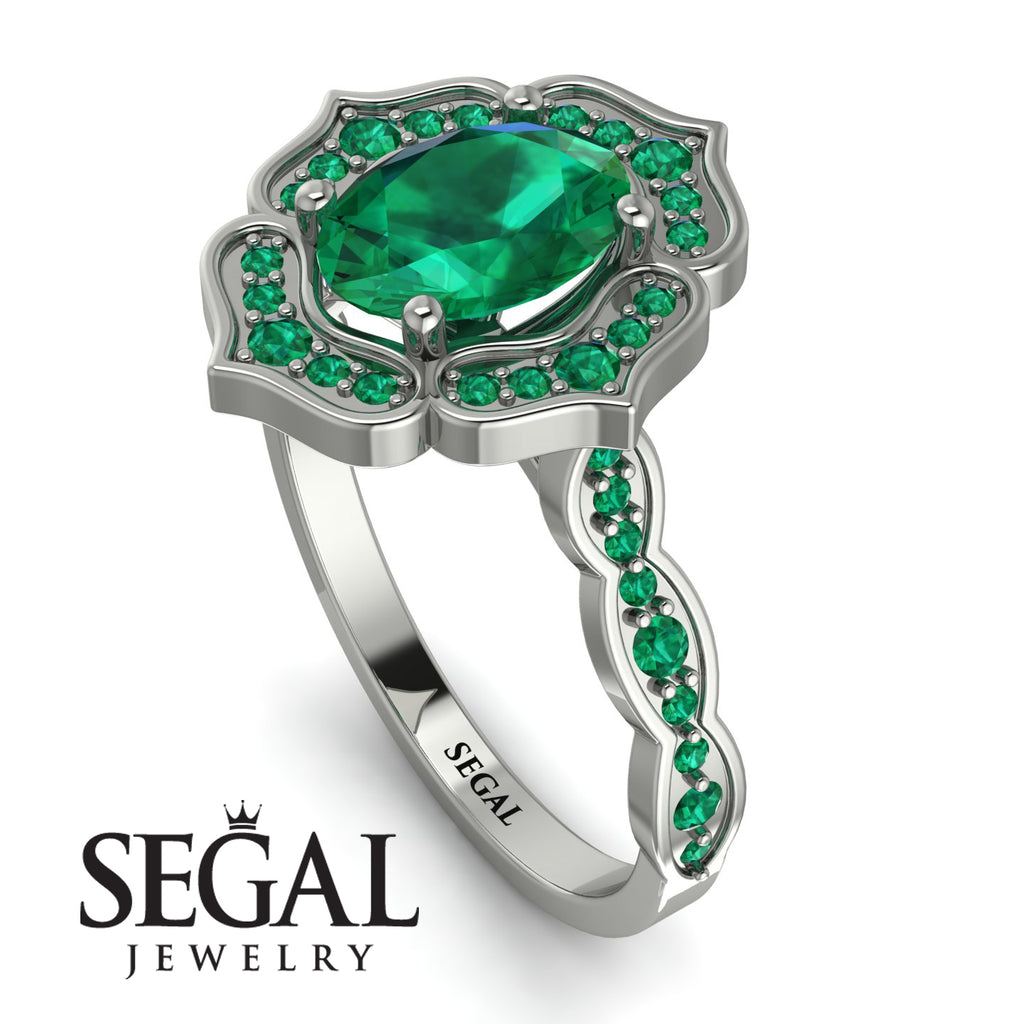 Decorated Halo Oval Emerald Engagement Ring - Faith No. 21
