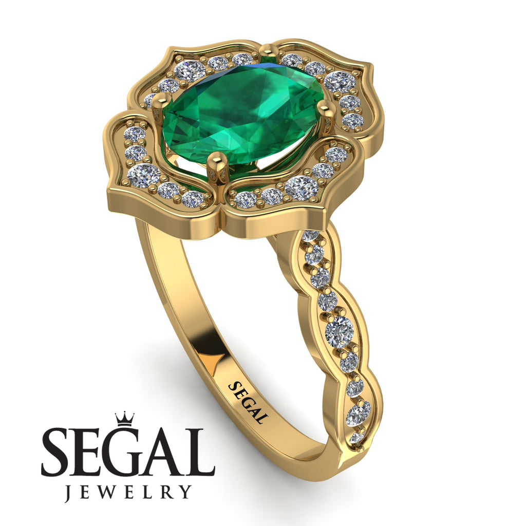 Decorated Halo Oval Emerald Engagement Ring - Faith No. 4