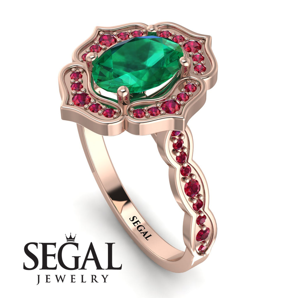 Decorated Halo Oval Emerald Engagement Ring - Faith No. 50