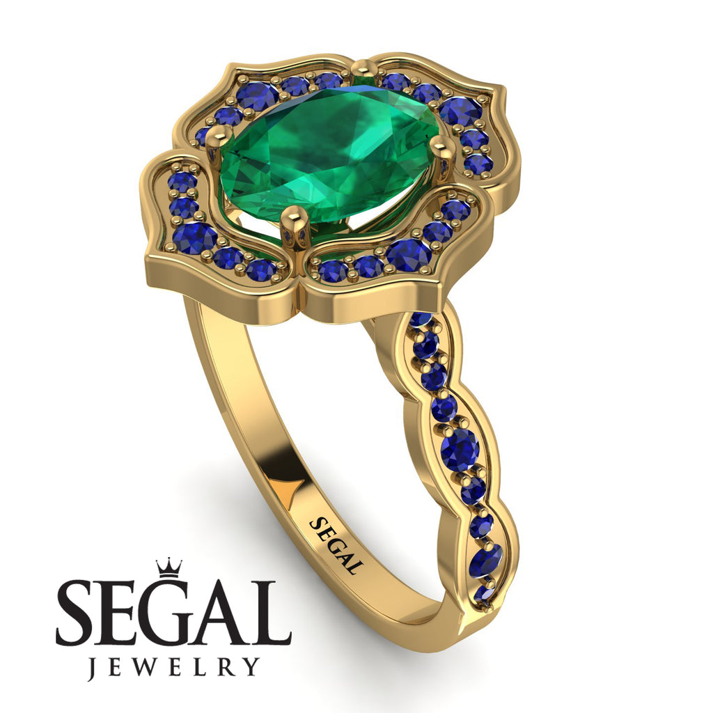 Decorated Halo Oval Emerald Engagement Ring - Faith No. 64